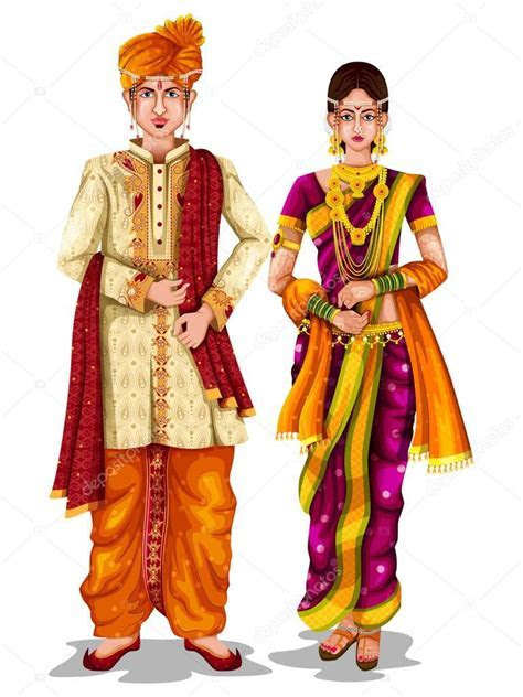 Maharashtrian wedding couple in traditional costume of