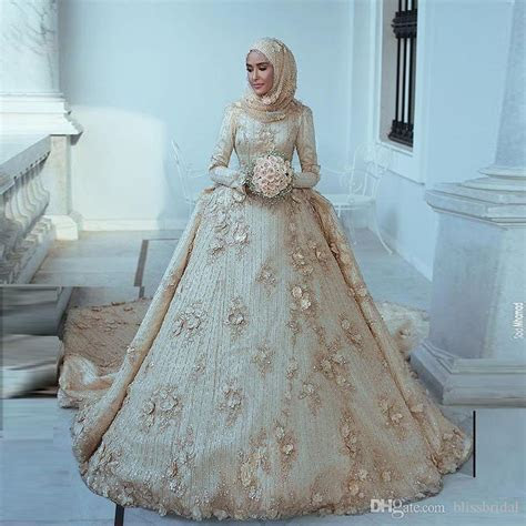 2019 Arabic Islamic Muslim A Line Wedding Dresses Said