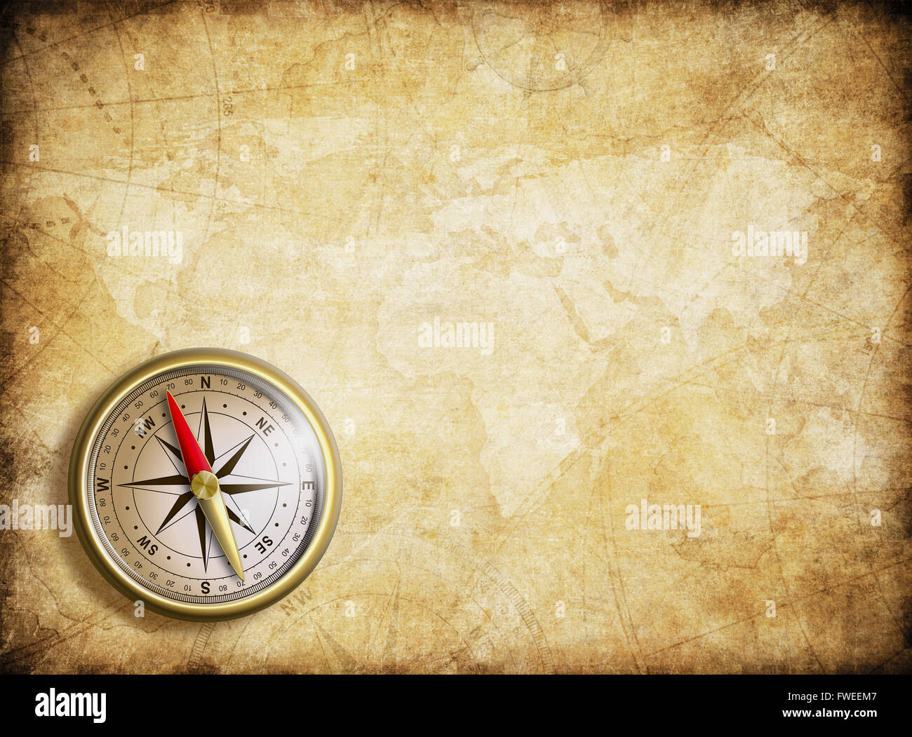 Vintage Map Background With Compass Stock Photo 101737111