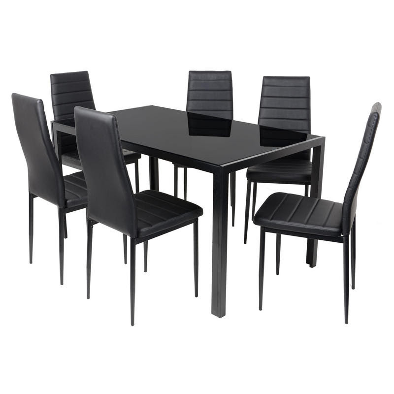 Black Rectangular Glass Nova Dining Table Set With 6 Chairs