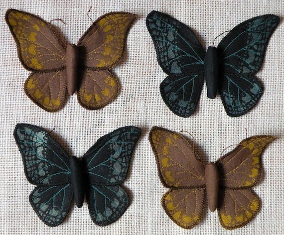 Handmade Fabric Butterfly Moth Ornament Textile Lepidoptera