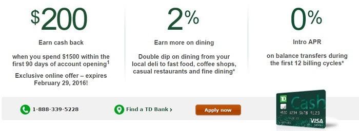 TD Cash Visa - $200 Sign Up Bonus - Doctor Of Credit