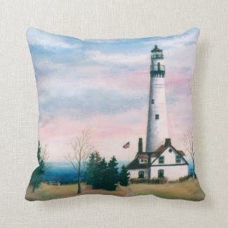 Wind Point Lighthouse Pillow