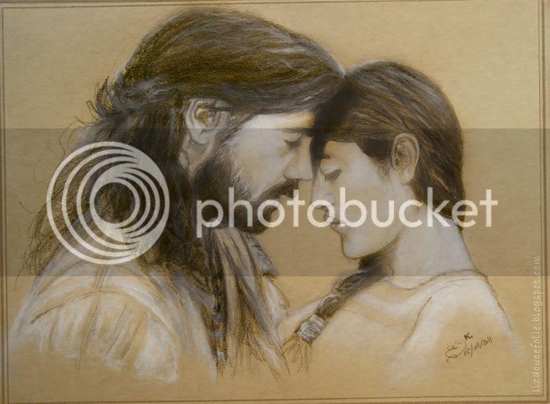new world nouveau monde film movie double portrait drawing Captain Smith Pocahontas Colin Farrell Q'orianka Kilcher