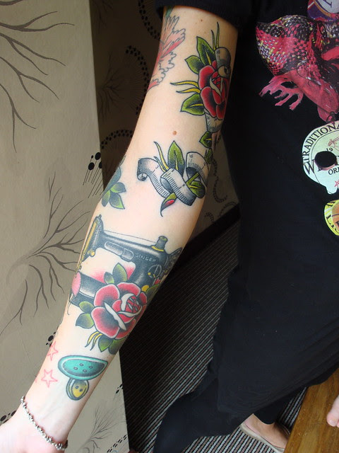 sewing tattoo - arm not quite as complete as I thought