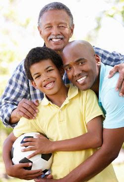 Grandfather, father and grandson