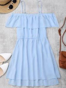 Ruffles Chiffon Cold Shoulder Mini Dress