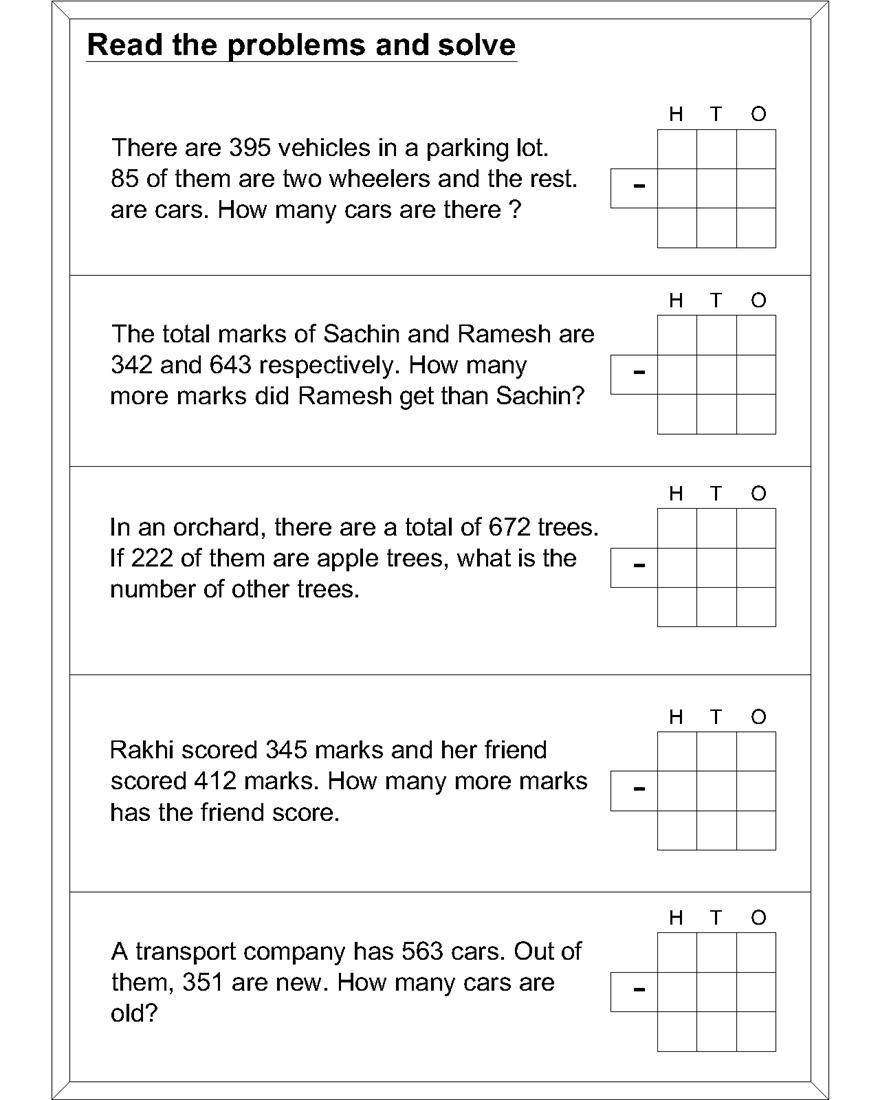 3404 51917 Math subtraction worksheets kids