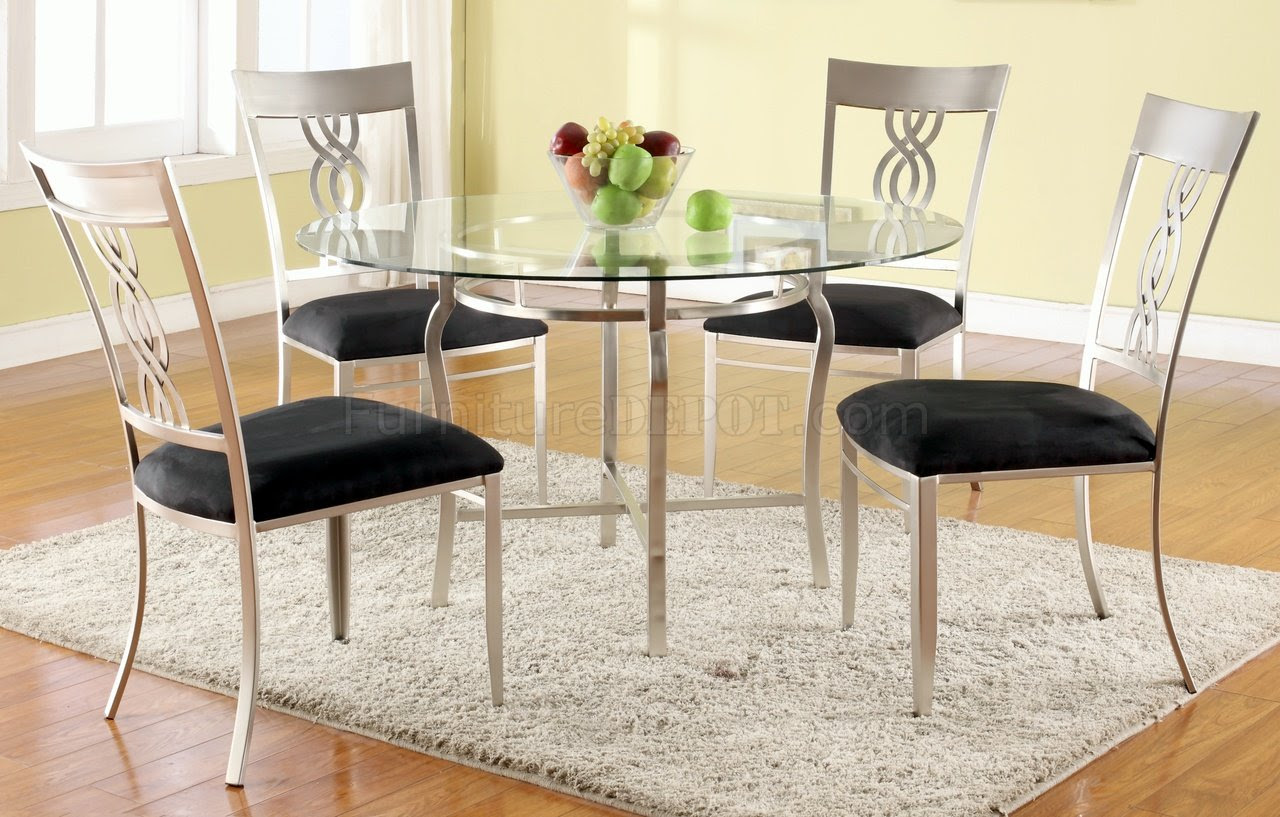 Angelina Dining Table Round Glass 5Pc Set By Chintaly