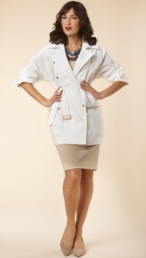 Trincheira Branco, R $ 45, laredoute.co.uk, vestido creme, R $ 85, bananarepublic.gap.eu, Colar, R $ 95, stelladot.co.uk, sapatos, R $ 65, johnlewis.com