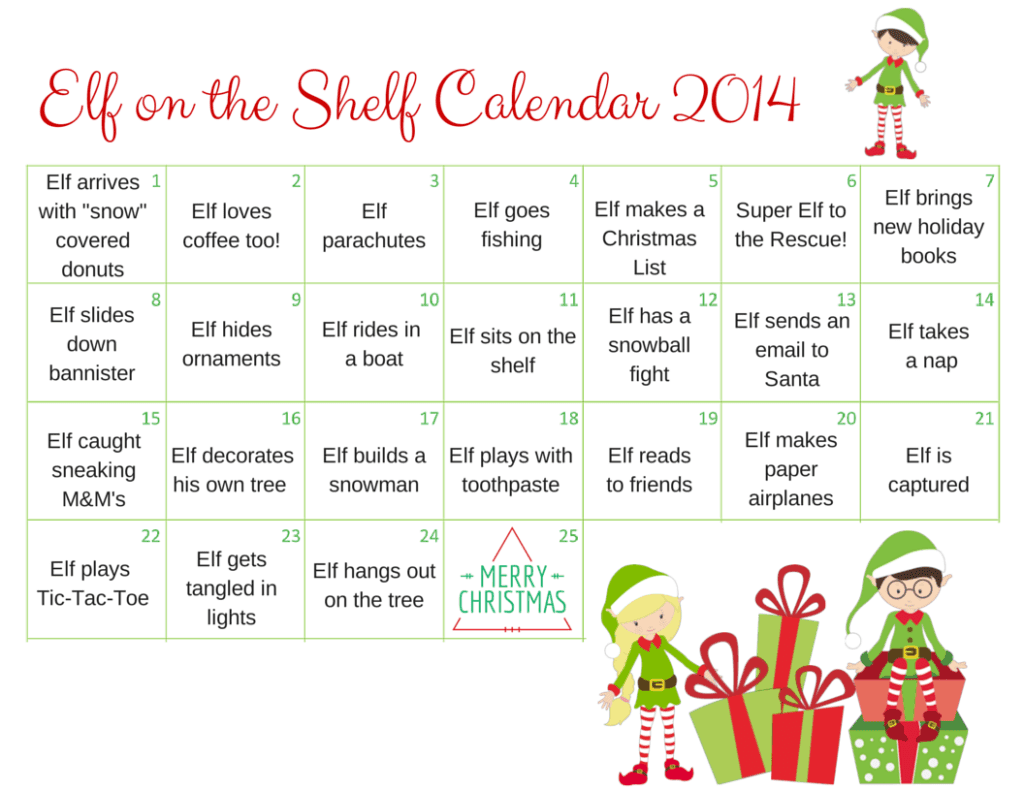 Elf on the Shelf Calendar 2014 (1)
