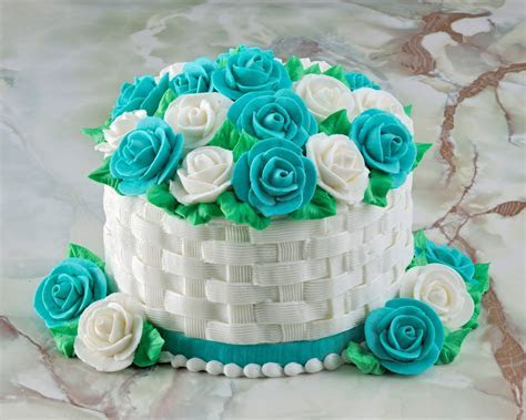 basket weave and button flowers on cakes   Google Search
