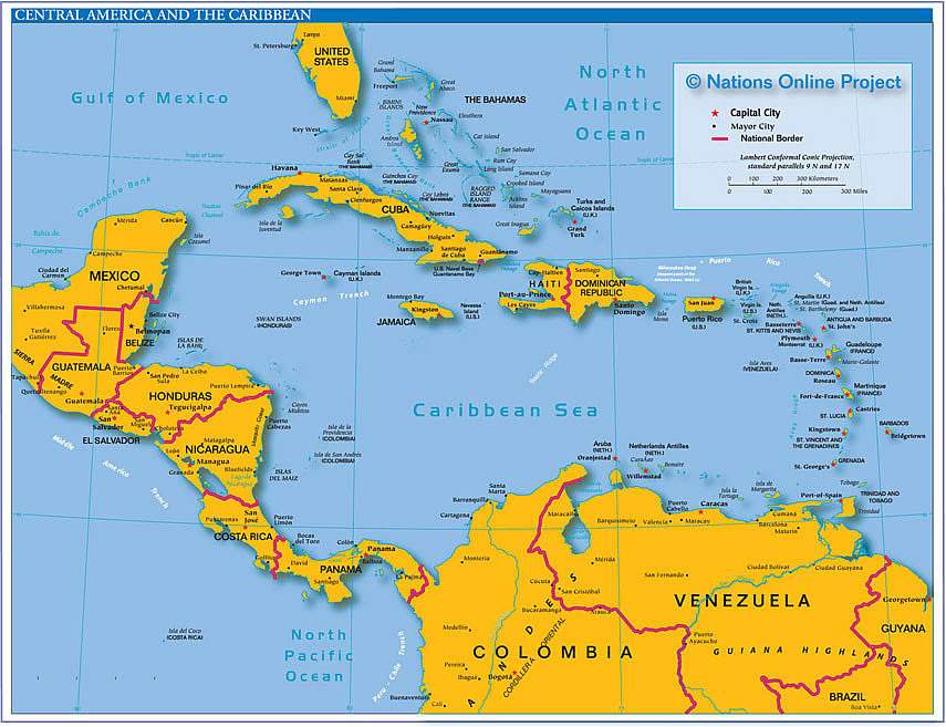 Central America Map Labeled