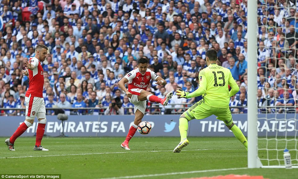 Aaron Ramsey (left), who was deemed not to be interfering with play, watches on as Sanchez finishes past Thibaut Courtois