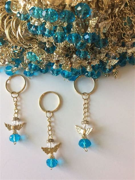 20 Teal Angel With Wings Keychain Rosary Baptism Communion