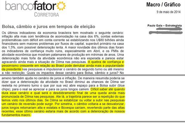 Texto do Santander replicou frases de relatório de maio do Banco Fator Corretora (Foto: Reprodução)