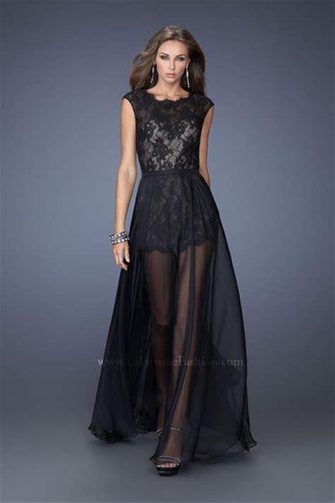 La Femme 19895 Romper Lace Evening Dress: French Novelty