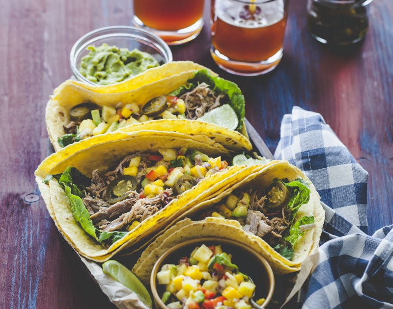 Beer-Braised Pulled Pork Tacos and a Spicy Mango and Pineapple Salsa