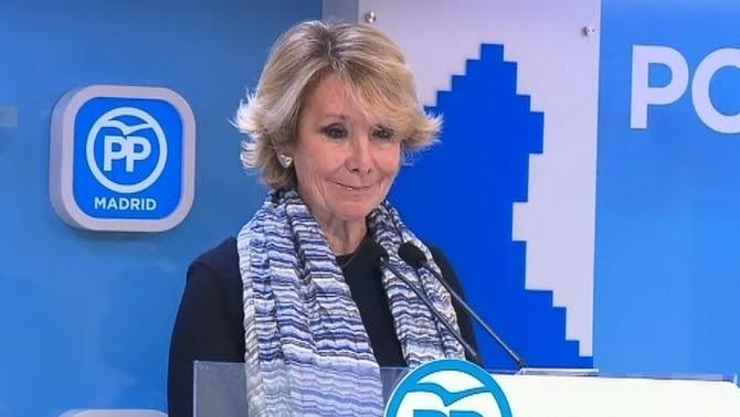 Esperanza Aguirre a la seu del PP de Madrid