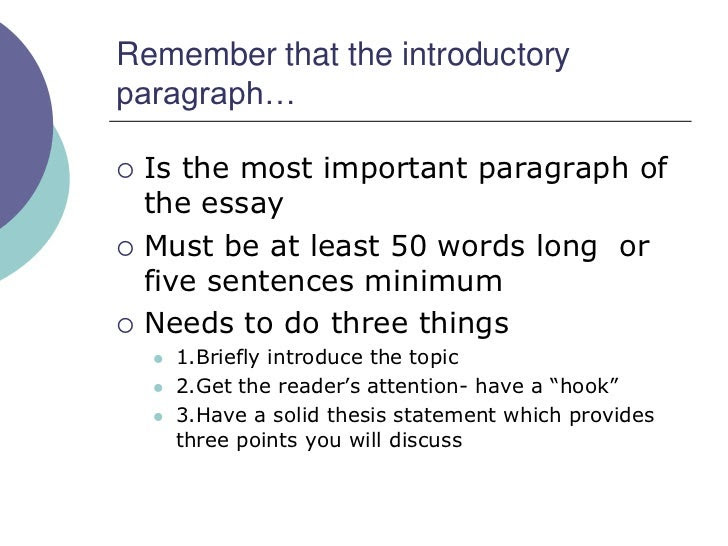 Sep 10, · How To Write An Introduction Paragraph Of An Essay?Usually, when you ask yourself – how is it possible to write my essay, how to begin an essay, and which thesis for a research paper to choose, you have to determine the main topic and goal of your paper.Start with a sentence that will catch the reader's interest.