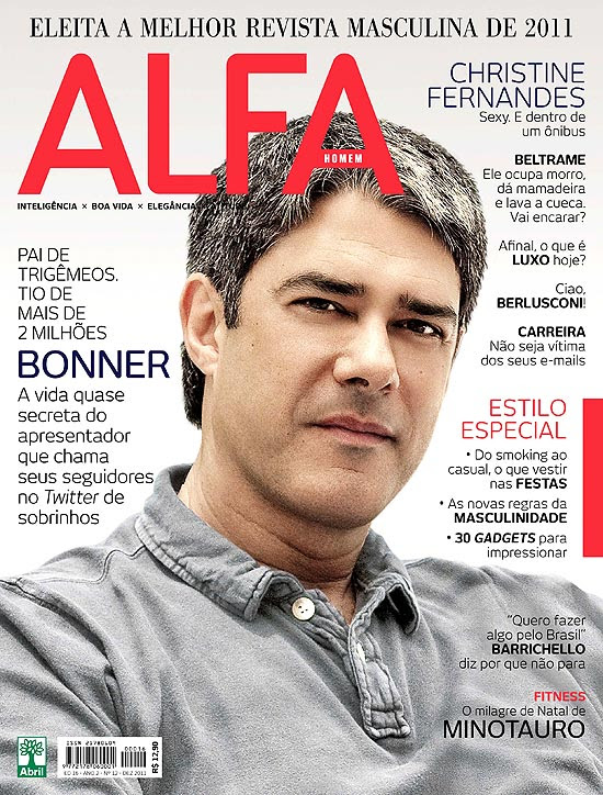 "William Bonner é capa da revista ""Alfa"" de dezembro"