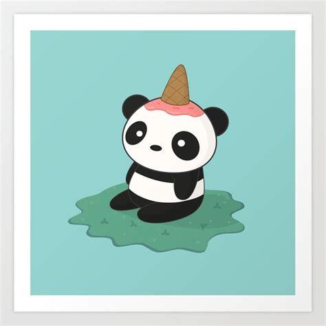 kawaii cute panda ice cream art print  wordsberry society