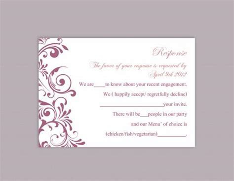DIY Wedding RSVP Template Editable Text Word File Download