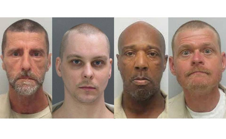 (From the left) John Tely King, Jason Howard Kelley, Jimmy Ham and William Bradley Scruggs were found dead inside a dorm on Friday at Kirland Correctional Institution.