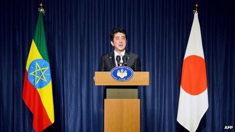 Japanese Prime Minister Shinzo Abe speaks during a press conference in Addis Ababa on January 14, 2014.