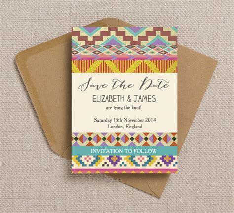 Free Printable Bohemian Aztec Ikat Wedding Invitation and