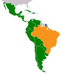 Romance languages in Latin America:  Green -Sp...