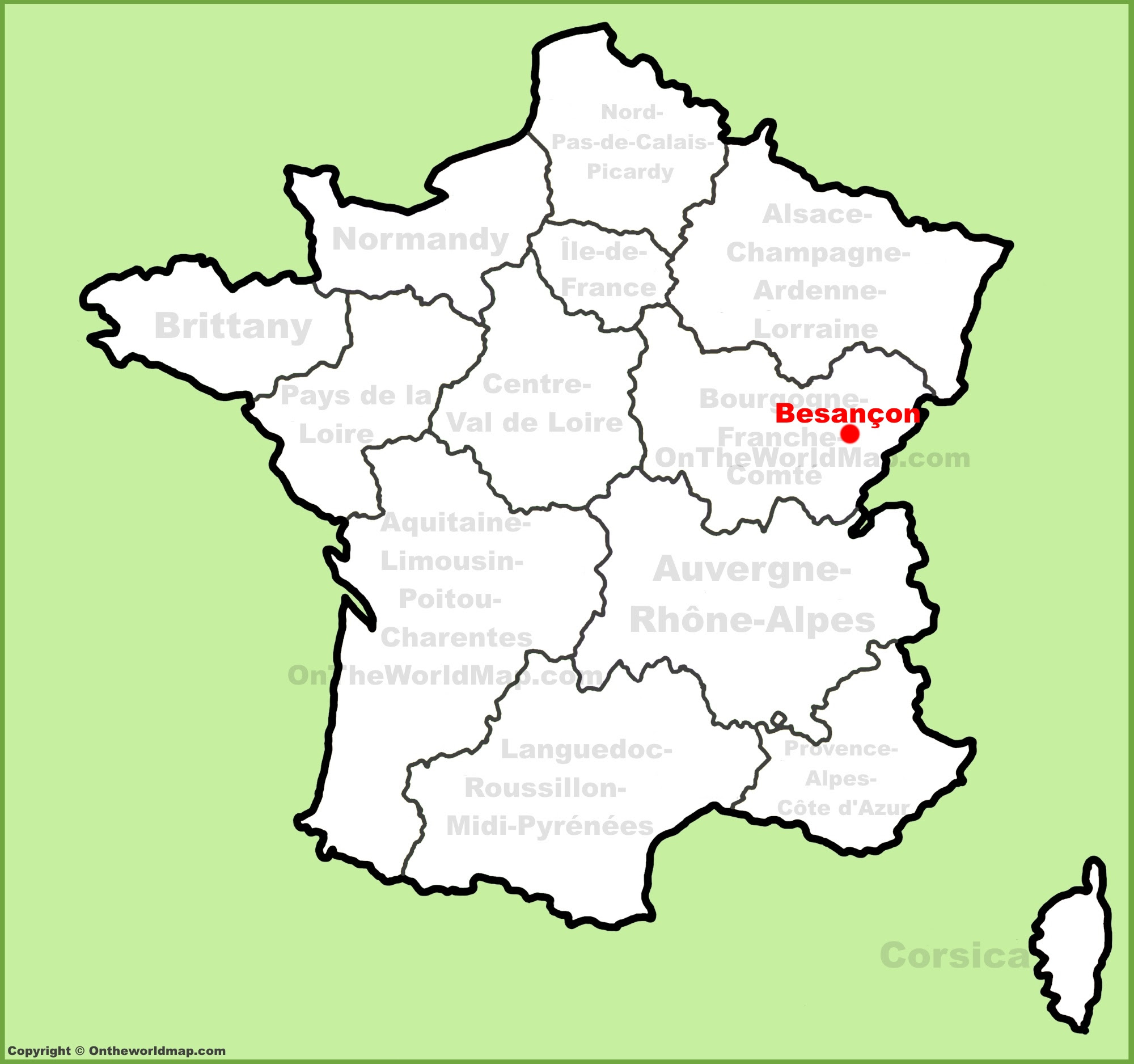 besancon location on the france map