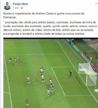 Post de Felipe Melo após empate com a Chape