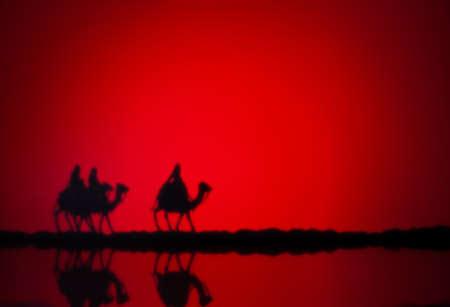 Tres hombres sabios en el camino a Jesús en Belén Foto de archivo - 21194679