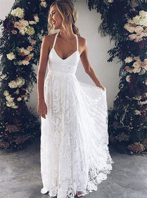 straps backless court train lace beach wedding