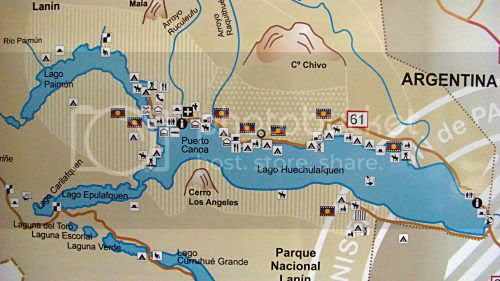 Lake Huechulafquen and its surroundings - map found in information center in the national park
