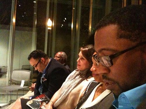 Ed Roberson (back), Kevin Young (l-r), Natasha Trethewey, Nehassaiu de Gannes, Major Jackson