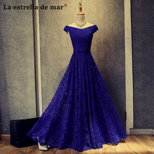 Vestidos de festa vestido longo para casamento2018 new lace Boat Neck short  sleeve a Line royal blue burgundy bridesmaid dresses b344be724078