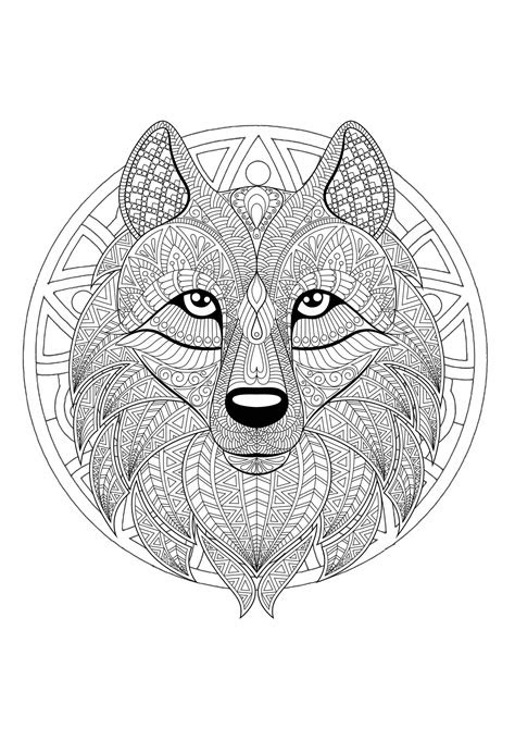 mandala tete loup  mandalas coloriages difficiles