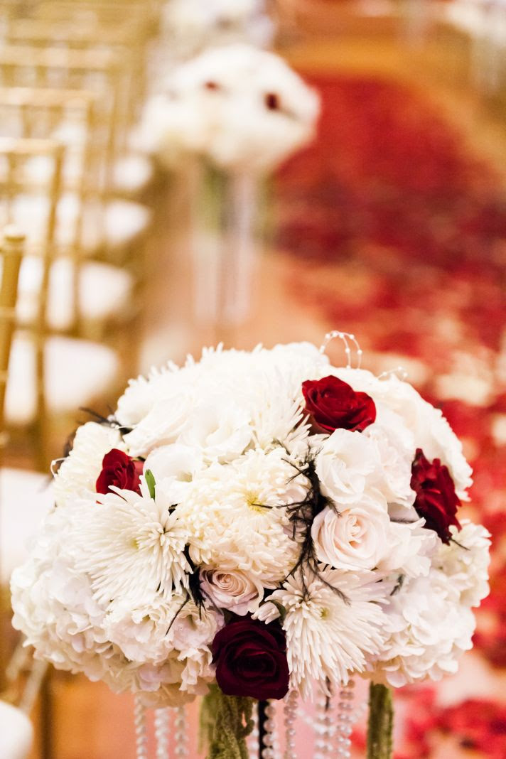 epic wedding in Los Angeles California weddings white red topiary