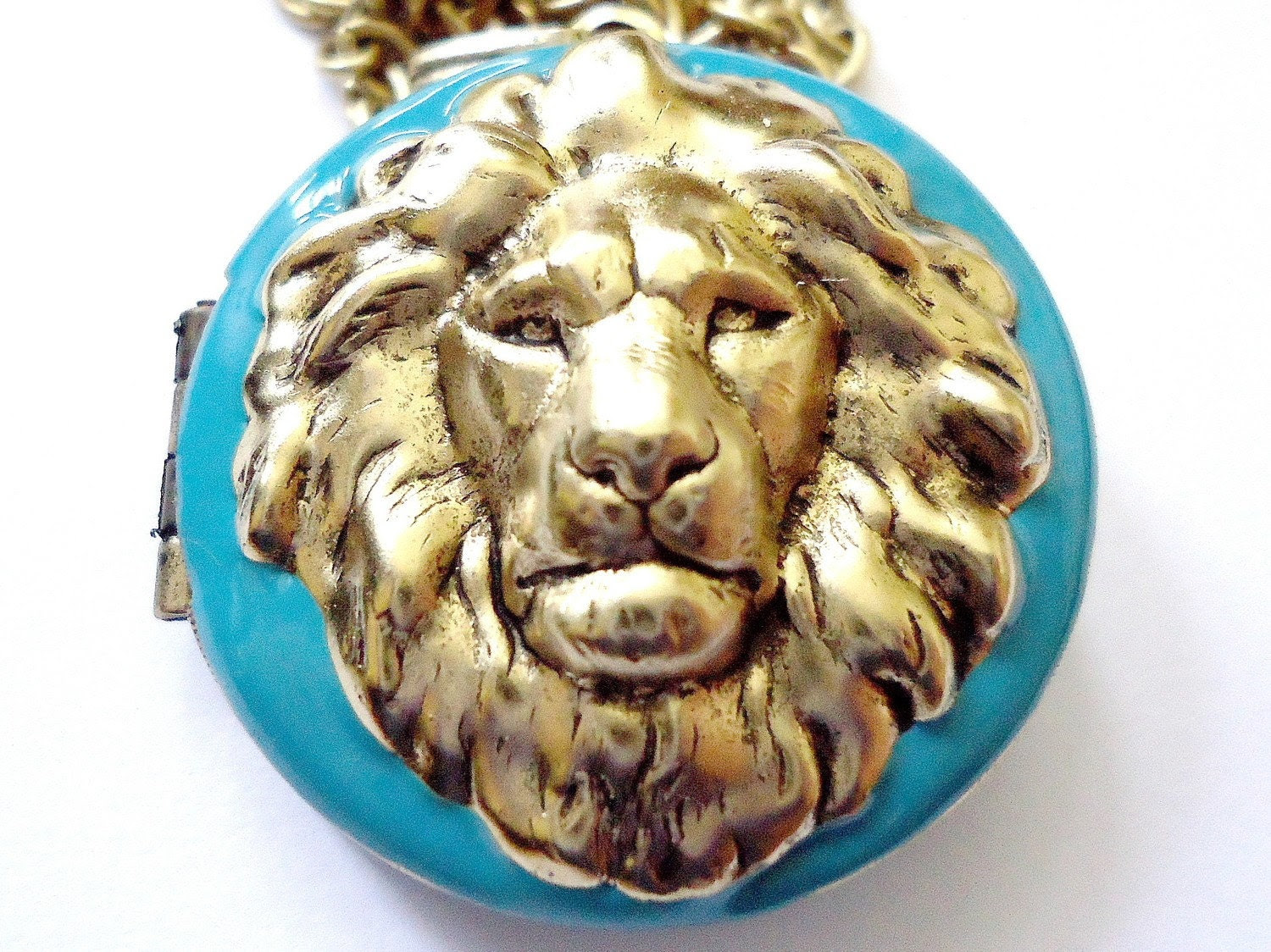 Turquoise Lion Necklace, Metal, Brass, Handmade by RotsinaCreations