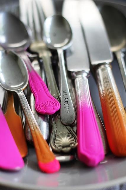 DIY: Fluro Cutlery Love this idea!