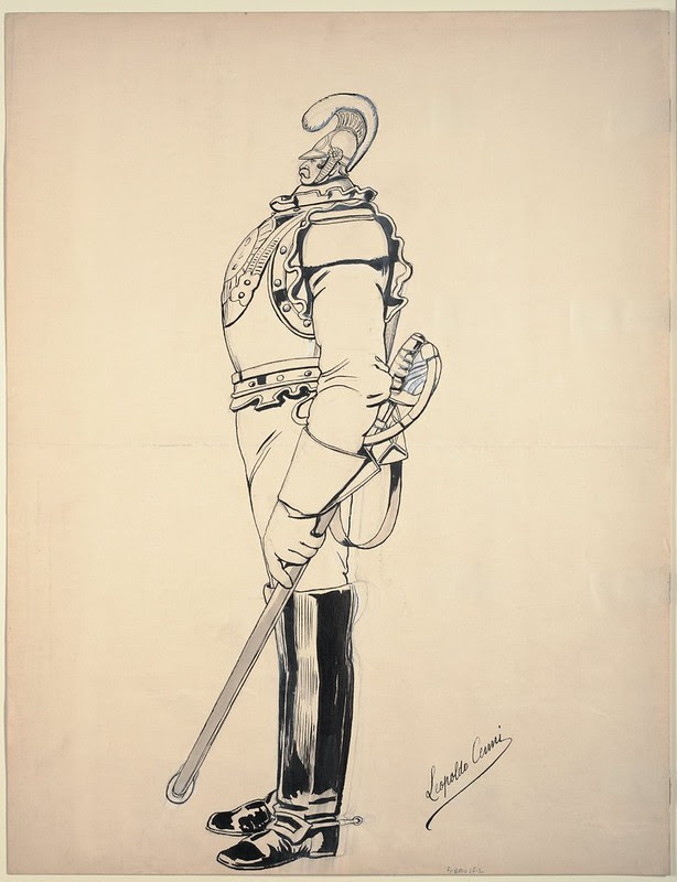 ink sketch caricature of French cavalry soldier with undersized head