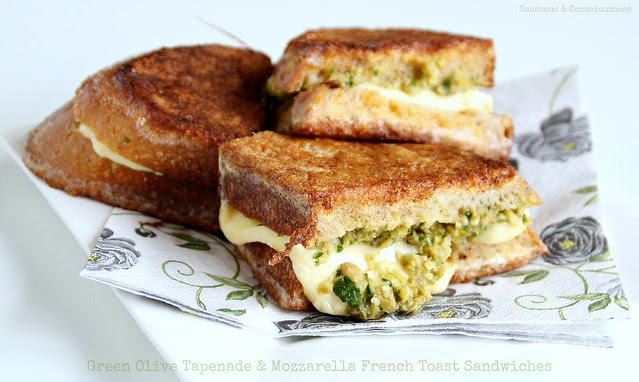 Green Olive Tapenade & Mozzarella French Toast Sandwiches 1