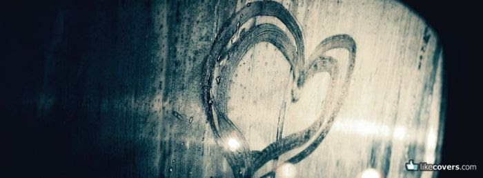 Heart drawn on a car window Facebook Covers