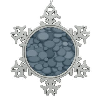 Blue River Rock Pebbles Art Snowflake Pewter Christmas Ornament