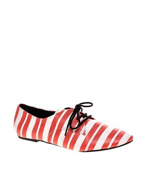 Image 1 of ASOS MONACO Lace Up Flat Shoes with Stripe Print