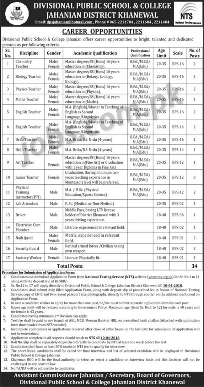 Divisional Public School College Khanewal Jobs 2018 For