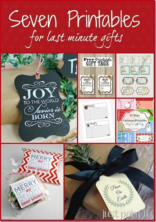 7 free printables for last minute Christmas gifts. Monday Funday link party features. #christmas #giftwrapping