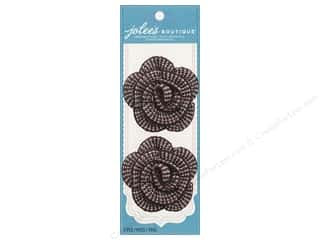 Jolee's Boutique Le Fleur Embellishments Brown Houndstooth Crochet Flower